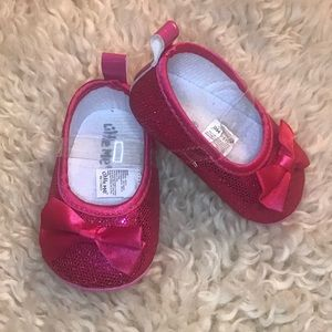 NWOT Little Me Glitter Bow Shoes